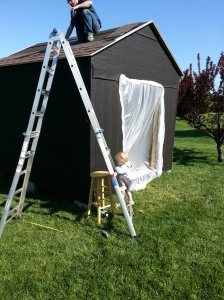Roofing time...Ian thought he could climb up and help. We disagreed.